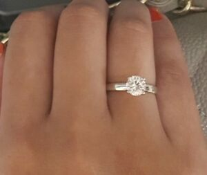 1 Ct Brilliant Cut Solitaire Diamond Engagement Ring Solid 14kt White Gold Ebay