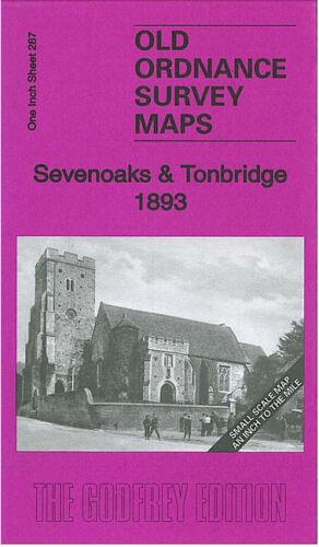 OLD ORDNANCE SURVEY MAP SEVENOAKS TONBRIDGE 1893 WESTERHAM WEST MALLING WROTHAM