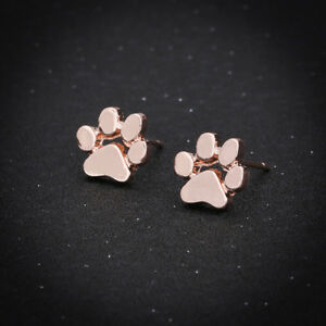 Rw Ear Studs Earrings Dog Paw Tierpfote Rotgoldfarbiges Metal