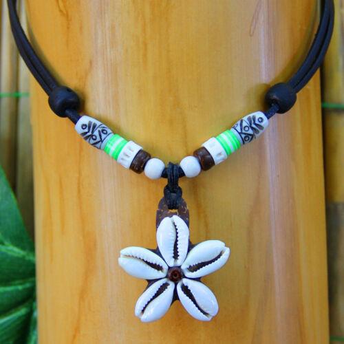 Shell Necklace Ladies Women mädchenkette Surfer Leather Green