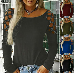 Women-Fashion-Crew-Neck-Hollow-Out-Studded-Long-Sleeve-T-Shirts-Casual-Tops-CA