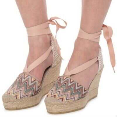 Nwob Vidorreta Colorful Chevron Tie Ankle Espadrille Wedges Lace Up Size 40 Ebay
