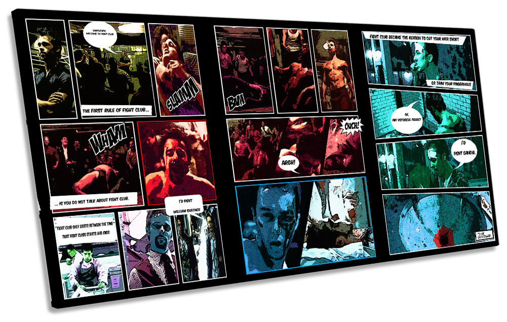 Fight Club Comic Book Film Framed PANORAMIC CANVAS Drucken Wand Kunst
