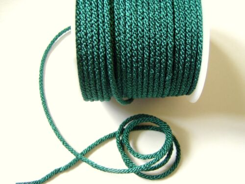 4mm FOREST GREEN LACING//FURNISHING CORD  By British Trimmings PER 2mt col 5601