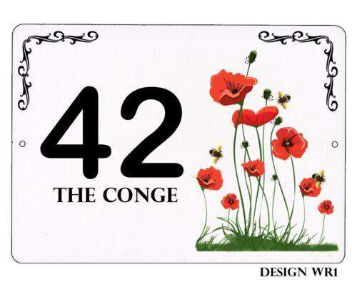 White Floral Design Aluminium 7x5 inch House,door name//number//road Plaque//sign