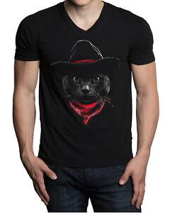 2a31ae6e New Men's Cowboy Cat V-Neck Black T Shirt Kitten Rodeo Southern ...