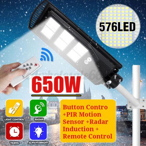 650W 65000LM LED Solar Wall Street Light PIR Motion Sensor Garden Lamp Remote