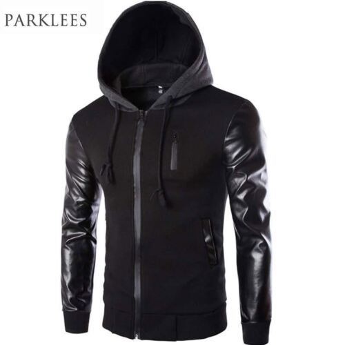 Cool Hooded Jacket Men 2017 Spring Fashion Pu Leather Sleeve Splice Bomber Jacke