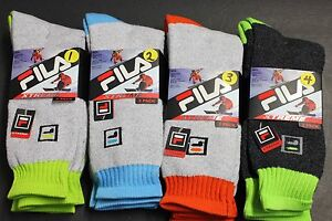 2-PAIRS-FILA-XTREME-BREATHABLE-KNIT-10-13-CREW-SOCKS-SHOES-SIZE-6-12-5-GRAY