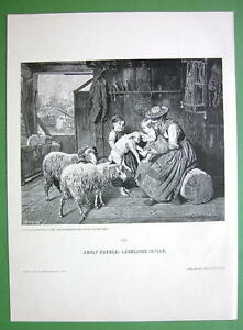 RUSTIC-FAMILY-Children-Play-with-Sheep-Lamp-VICTORIAN-Antique-Print-Engraving