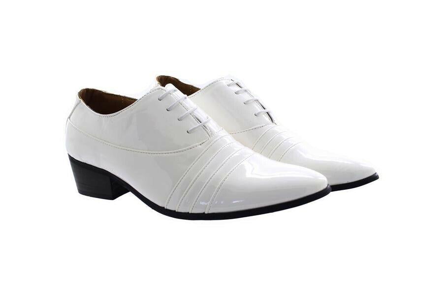 2019 DernièRe Conception Hommes Classique Lami Smart Habillé à Lacets Talon Cubain Chaussures Blanc