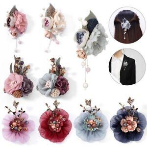 Crystal-Pearl-Brooch-Flower-Lapel-Enamel-Pin-Banquet-Barrette-Clip-Women-Wedding