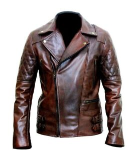 MENS MOTORCYCLE BRANDO BIKER VINTAGE RETRO LEATHER JACKET CLASSIC DIAMOND JACKET