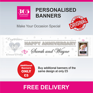 D023 60 Years Personalised Diamond Anniversary Banner Names and Photo