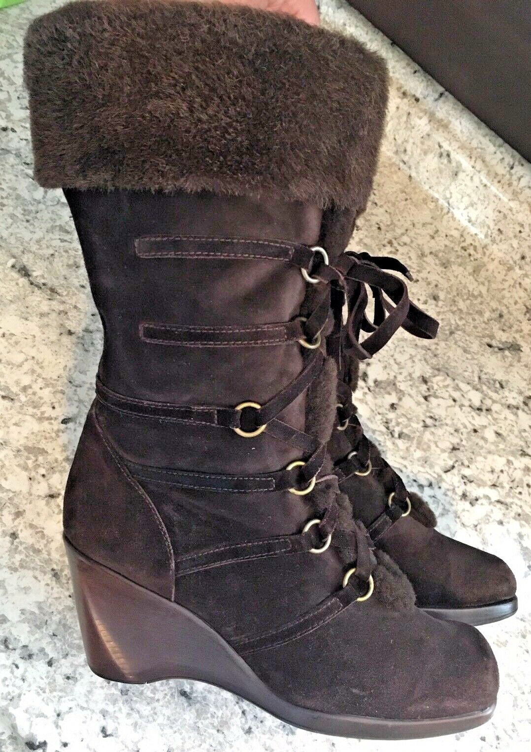 STUART WEITZMAN Womens Mid Calf Boots Brown Leather soft fur-lined Size 8.5