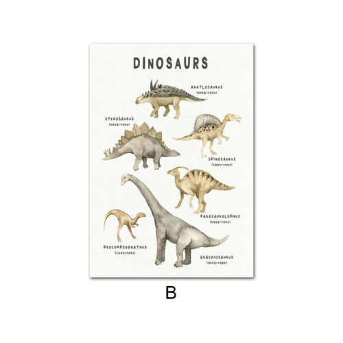 Child Poster Dinosaur Painting Nursery Quotes Canvas Wall Art Print for Kid Room