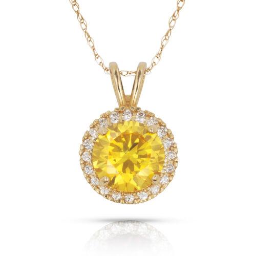 14k Yellow Gold Halo Round Birthstone Pendants