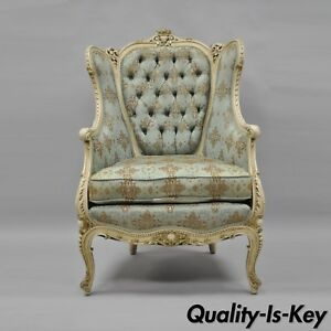 antique french louis xv provincial style cream painted bergere