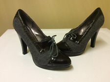 Steve Madden Reilly Oxford Pumps Black Patent & Houndstooth Sz 8 Exc Cond