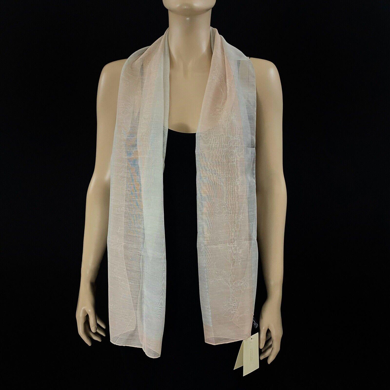 Giorgio Armani Gray Pink Cashmere Silk Rectangle Scarf 61