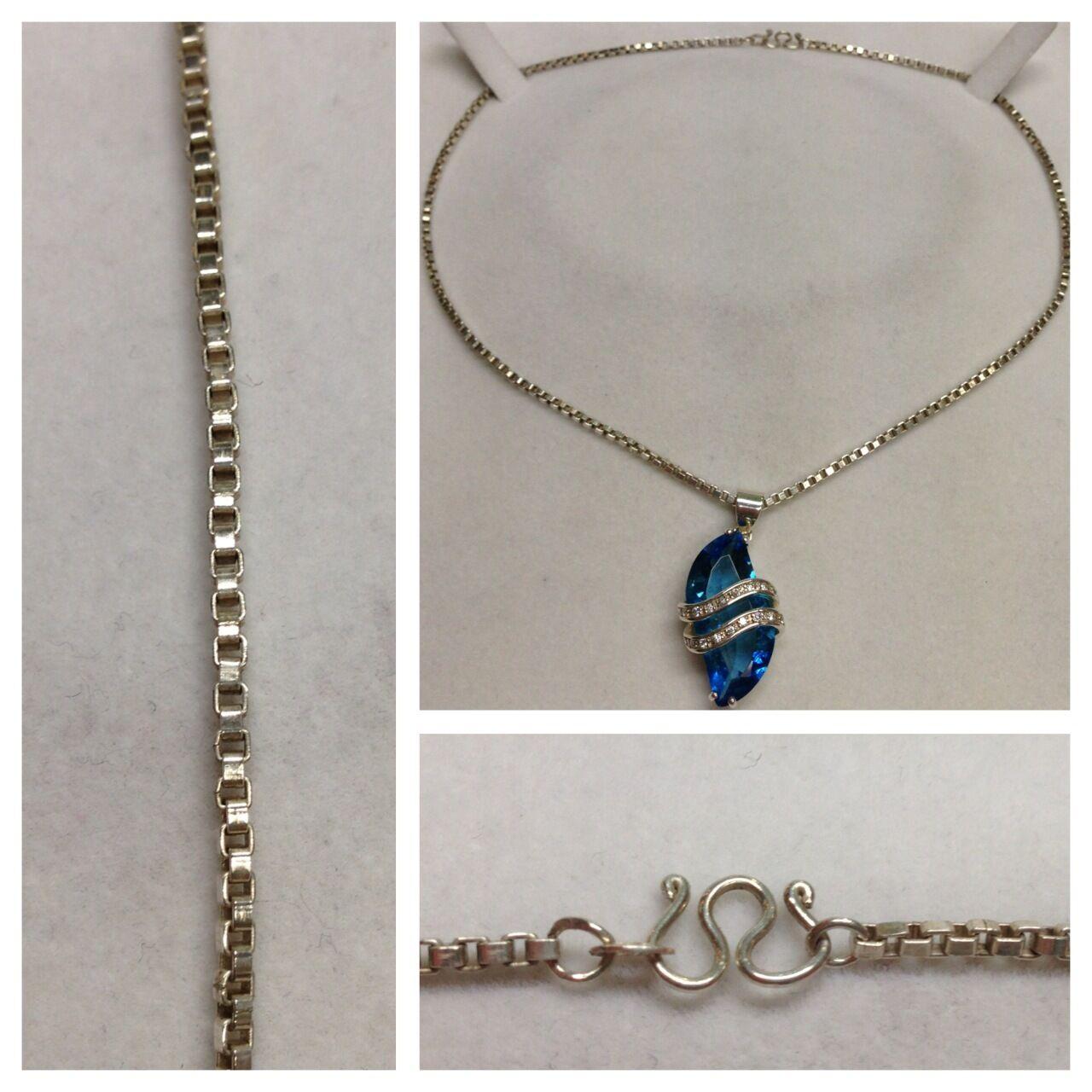 Schöne Veneziakette 925er silver silverkette Kette Anhänger blueer Farbstein