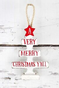 Merry Christmas Yall.Details About A Very Merry Christmas Yall White Red Paula Deen Wood Tree Ornament Rope Hanging