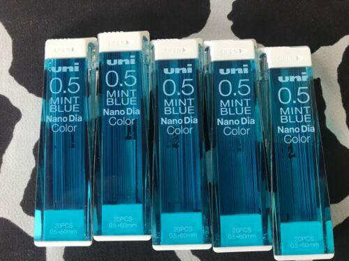 Mint Blue x 5 tubes mechanical pencil lead Uni Nano Dia COLOR 0.5mm 20 pcs