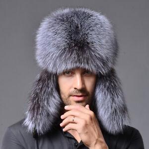 Mens Womens Real Silver Fox Fur Russian Winter Bomber Outdoor Hat  f3dee62dcd6