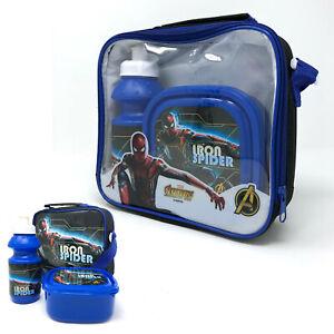 IRON-SPIDER-Spiderman-per-bambini-3-pezzi-Borsa-pranzo-termica-scatola-e-bottiglia-Set-Scuola