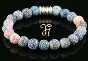 Achat-Armband-Bracelet-Perlenarmband-Buddha-bunt-matt-8mm