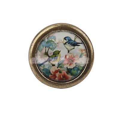 Poignée Bouton de Porte Tiroir Placard Ancienne Métallique Fleur et Osieau