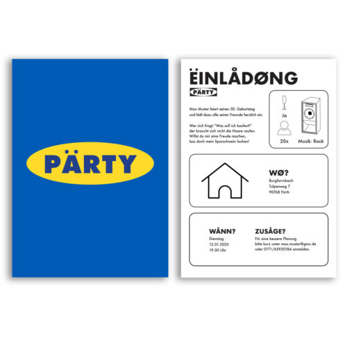 Einladungskarten zum Geburtstag Party Einladung Lustig Witzig 30 40 50 60