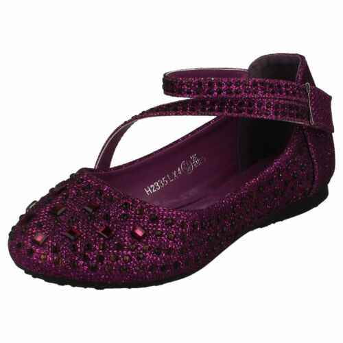 Spot On H2R335 Girls Purple Glitter Bridesmaid ShoeR64BKett