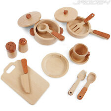 Kids Kitchenware Gourmet Toy Set Wooden Cooking Utensils Pretend Play Cookware