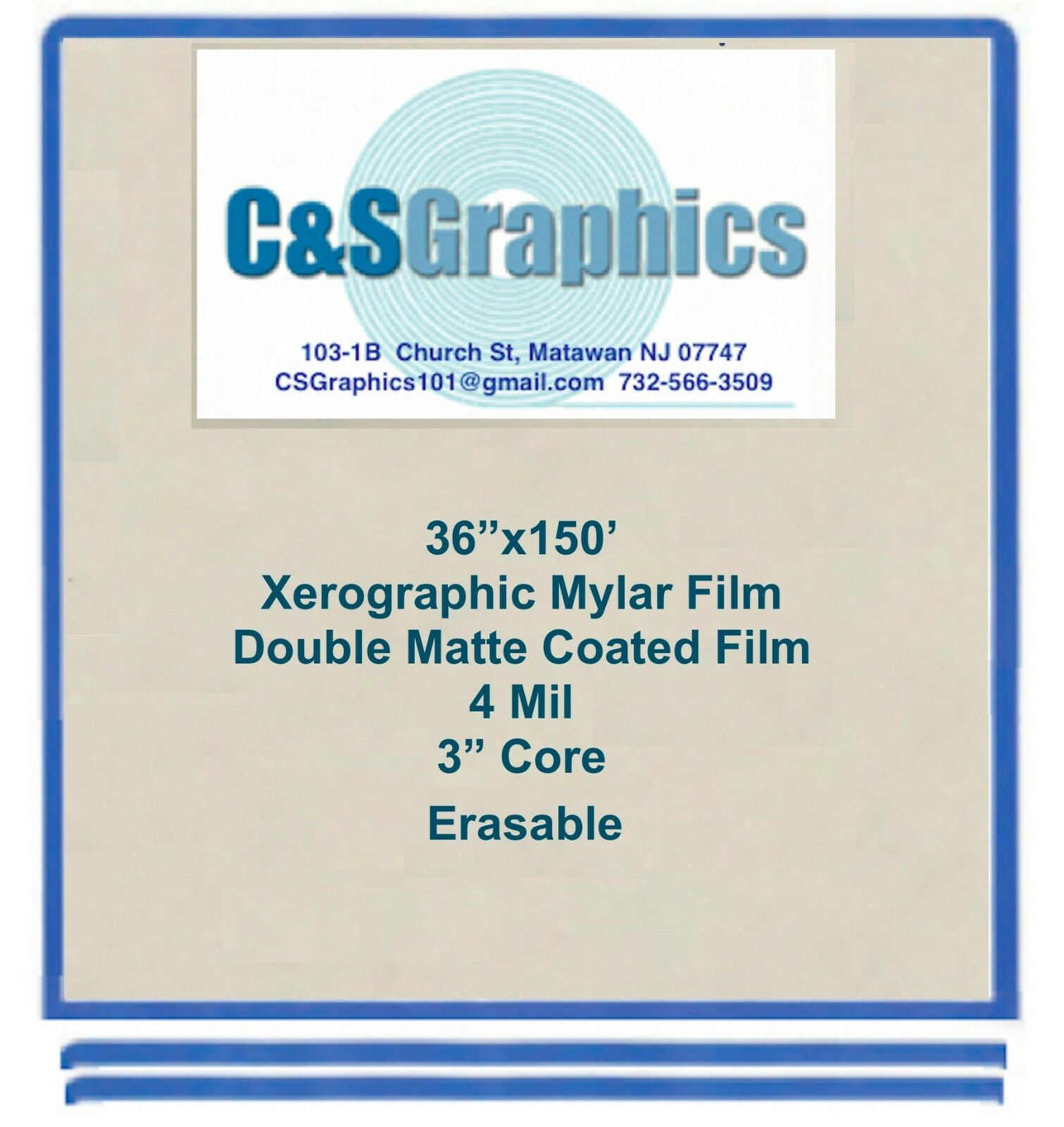 36 x150' Roll 4 mil Mylar Drafting Film, Double Matte Xerographic Erasable