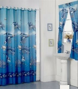 Aqua Blue Design Shower Curtain And Window Set W Liner