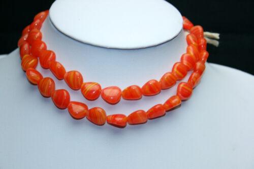 Strang 64 cm naranja rojo bucodispersables abalorios de Bohemia
