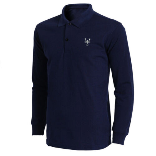 Mens Scorpion Scorpid Embroidered Long Sleeve Polo Shirts