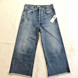 Citizens-of-Humanity-Womens-Sz-27-Emma-High-Rise-Wide-Leg-Crop-Jeans-Frayed-Stax