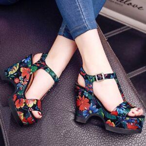 Fashion-Women-Platform-Wedge-Heels-Shoes-Floral-Buckle-Strap-Summer-Sandals-sz