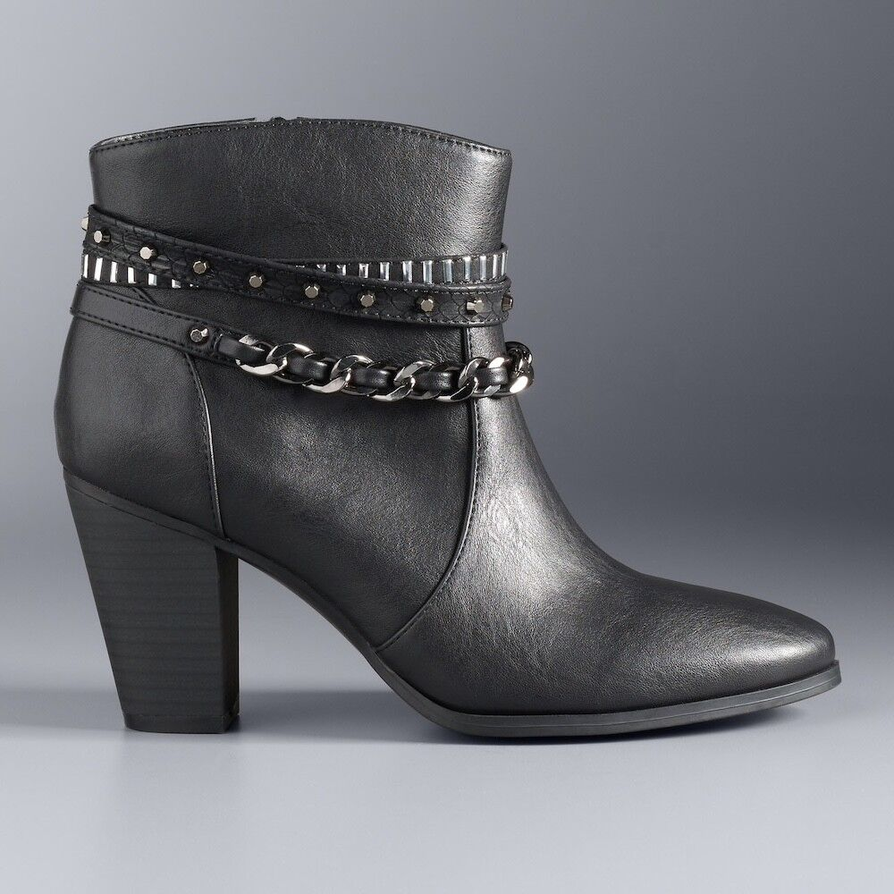 Damenschuhe 90 J LO JENNIFER LOPEZ Studded Dress Heel Ankle Stiefel Booties BLACK  9