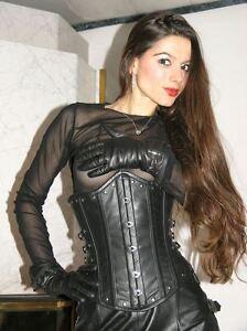 ECHTES-LEDER-Gothic-Corsage-Korsett-Real-Leather-S-M-L-XL-2XL-3XL-4XL-K24