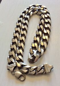 Superb-Very-Heavy-Big-Chunky-Solid-Silver-Curb-Necklace-Gents-Chain-154-gm-app