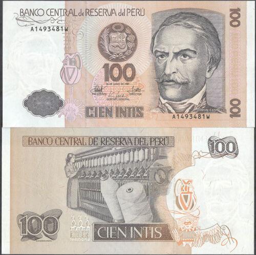 P 133 P133 UNC 100 Intis 1987 Banknote Note PERU