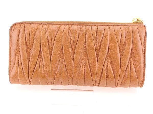 miumiu Wallet Purse zipper wallet Materasse Brown Woman Authentic Used Y4365