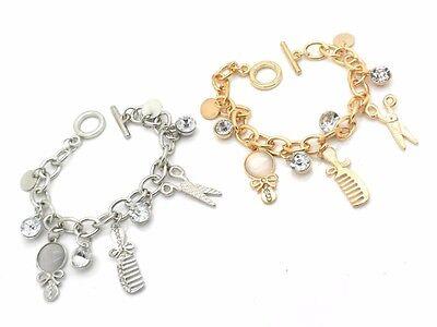 Hair Stylist Shears Scissor Charm Bracelet Silver or Gold Plated Women NEW