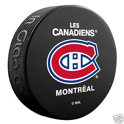 MONTREAL CANADIENS Les Habs Basic Team Logo Model SOUVENIR PUCK NEW In Glas Co.