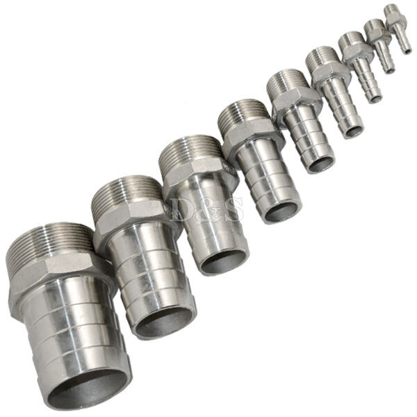 Male Thread Pipe Fitting x Barb Hose Tail Connector Stainless Steel NPT
