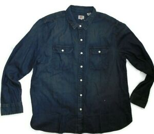 Levi-039-s-mens-long-sleeve-snap-front-dark-blue-denim-jean-Shirt-size-XXL-2XL-nwt