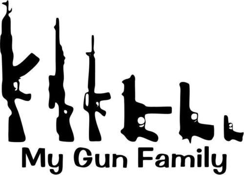 "MY FAMILY GUN Vinyl Decal Sticker-6/"" Wide White Color"